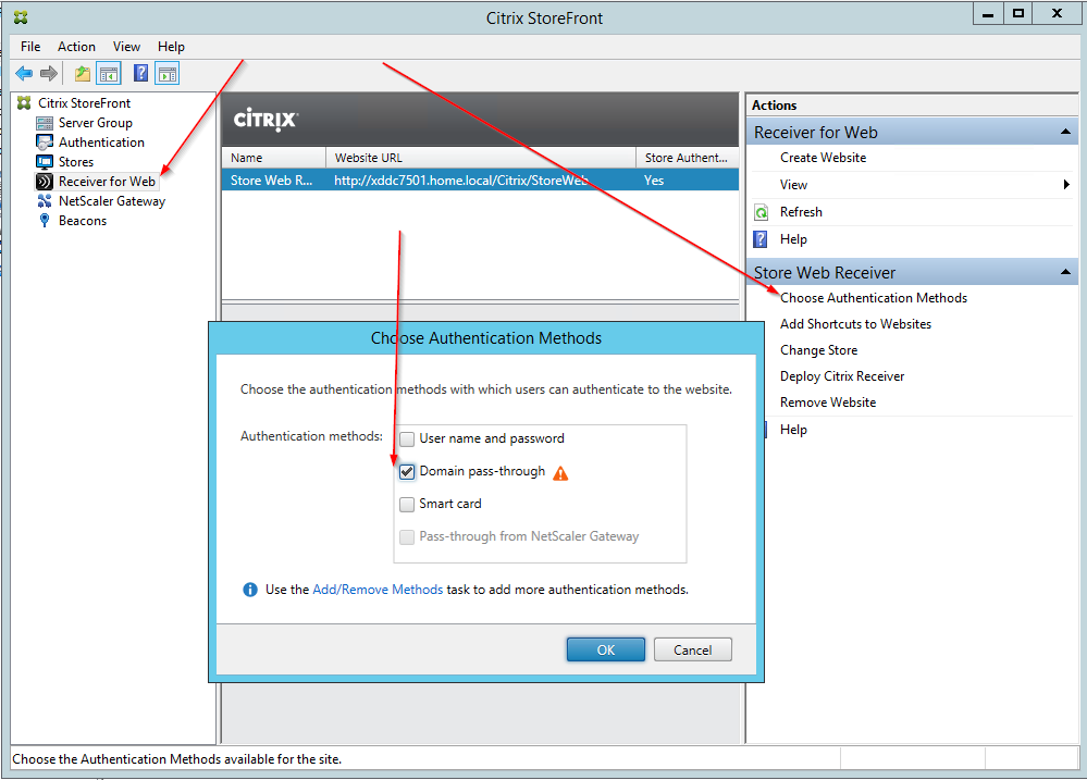citrix receiver enable single sign on after install